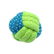 Dog Toy Rope Ball Knot Blue Green Medium 3""