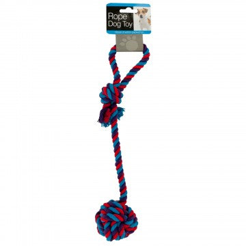 Dog Toy Rope and Knotted Ball Red, Purple, Blue Medium