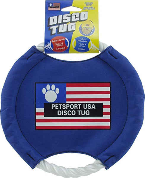 "Dog Toy Frisbee Rope Tug Blue Small 5"" & Medium 8"""