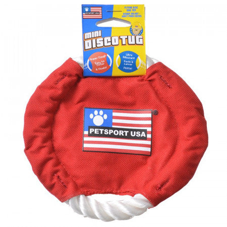 Dog Toy Red Frisbee Disc with Rope
