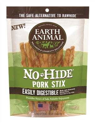 Earth Animal No Hide Pork Stix Dog Treats, 10 Count Bag