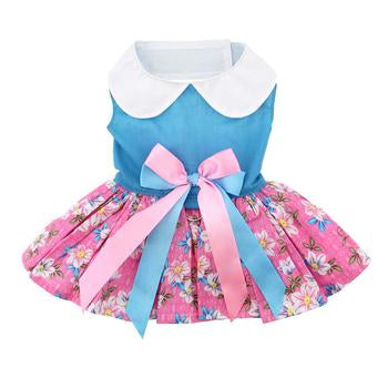 Dog Harness Dress Pink & Blue with Flowers