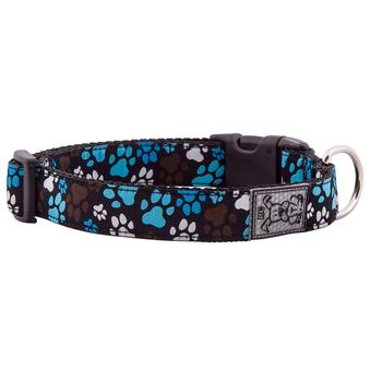 Dog Collar Blue Brown Pitter Patter Paws by RC Pets Medium