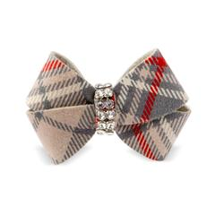 Dog Big Bow Scottish Beige Plaid Ultrasuede® Swarovski® Crystal