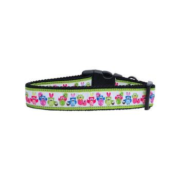 Dog Collar Easter Birdies Pink Blue Green Medium
