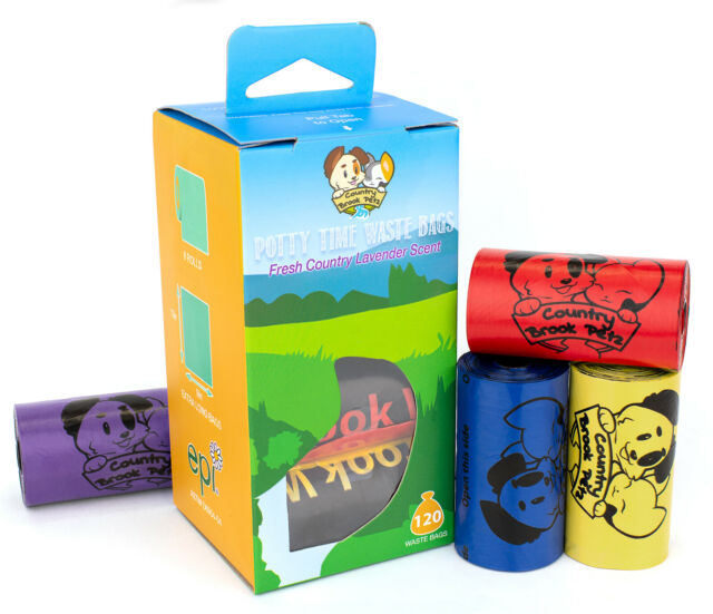 Dog Poop Waste Bags Multi-Color Lavender Scent 120 Count 8 Rolls