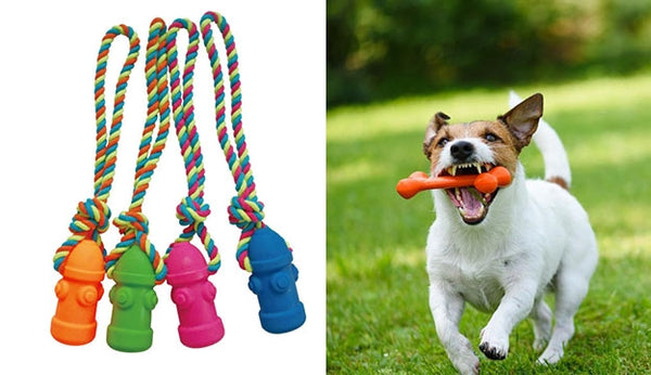 Dog Toy Rope Fire Hydrant Pink, Orange