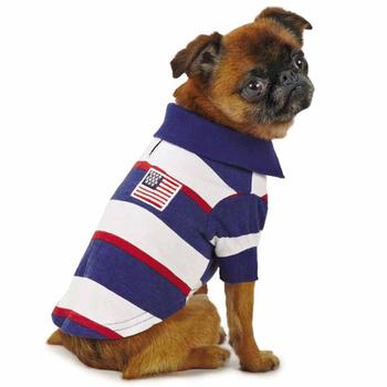 Dog Polo Shirt American Patriot Pooch SPF40 Red White Blue Small-Medium
