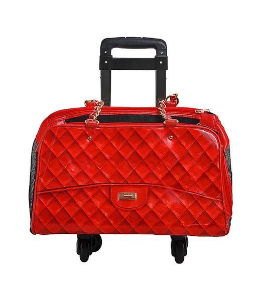 Luxury Dog Carrier Red Airline Approved Wheels