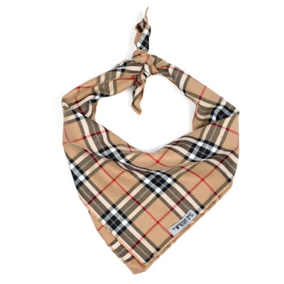 Tan Plaid Dog Bandana