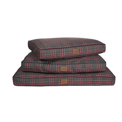 Dog Bed Red Grey Plaid Orthopedic Joint Relief