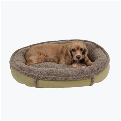 Dog Bed Round Suede Sage Green Joint Relief