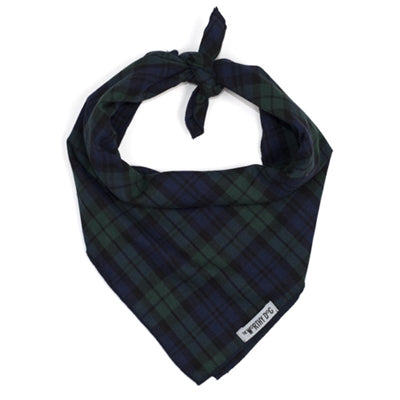 Holiday Dog Bandana Plaid Tie Black Small Large