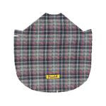 Dog Fleece Poncho Grey Plaid Red Bow X-Small, Small