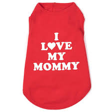 Dog Tank Top Red White I Love Mommy XS-XXL