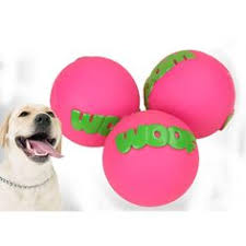"Dog Toy ""Woof"" Rubber Squeaker Bone & Balls"