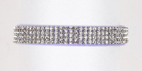 Luxury Dog Collar 4 rows Swarovski Crystals Ultrasuede Platinum