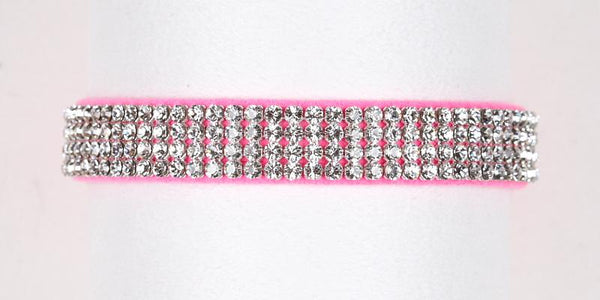 Luxury Dog Collar 4 rows Swarovski Crystals Ultrasuede Pink