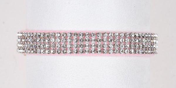 Luxury Dog Collar 4 rows Swarovski Crystals Ultrasuede Puppy Pink