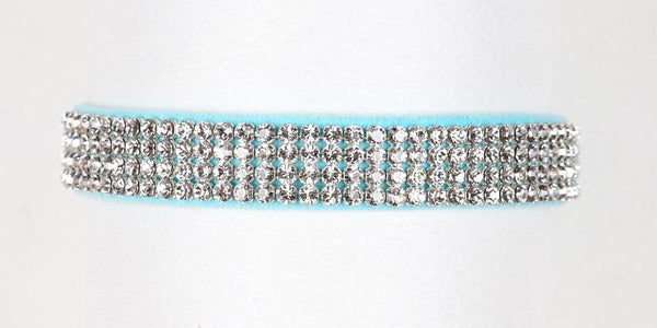 Luxury Dog Collar 4 rows Swarovski Crystals Ultrasuede Tiffi Blue