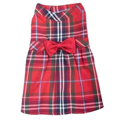 Dog Dress Holiday Red Plaid