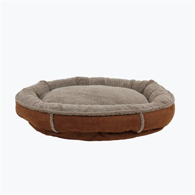 Dog Bed Round Suede Brown Joint Relief