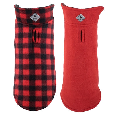 Dog Fleece Jacket Red Black Buffalo Reversible