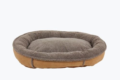 Dog Bed Round Suede Caramel Joint Relief