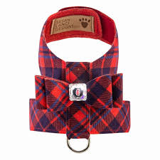 Luxury Dog Harness Red Plaid Swarovski® Crystal