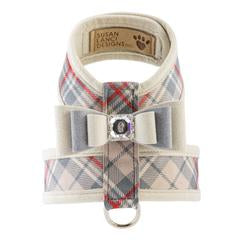 Luxury Designer Dog Harness Beige Plaid Bow