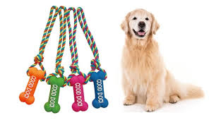 "Dog Toy Rope ""Good Dog"" Bone Pink Green"