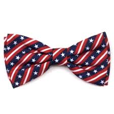 Dog Bow Tie USA Flag Stars Red White Blue Collar Attachment