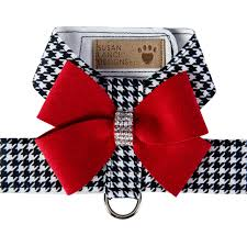 Luxury Dog Harness Black White Red Bow Ultrasuede® Swarovski Crystal®