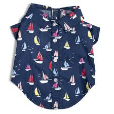 Dog Shirt Nautical Navy Sailboat