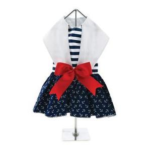 Dog Dress Nautical Sailor Red White Blue with Matching Leash