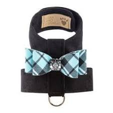 Luxury Designer Dog Harness Plaid Black Blue