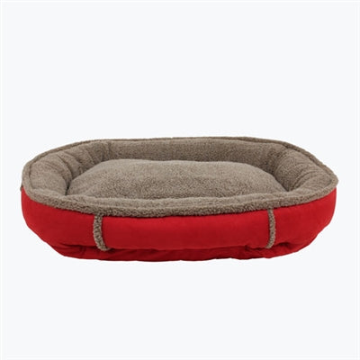 Dog Bed Round Suede Red Joint Relief