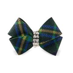 Dog Big Bow Scottish Green Plaid Ultrasuede® Swarovski® Crystal