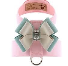 Luxury Dog Harness Pink Mint Grey Bow Ultrasuede® Swarovski Crystals®
