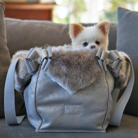 Luxury Dog Carrier Grey Swarovski® Crystals Ultrasuede® Fur Trim