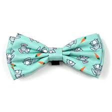 Easter Holiday Dog Collar attachment Bow Tie Bunnies Blue Orange Small, Large