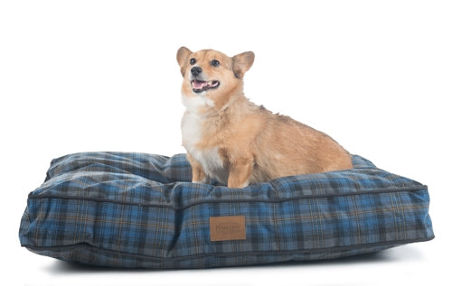 Dog Bed Blue Plaid Orthopedic Joint Relief