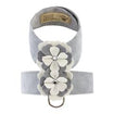 Luxury Dog Harness Grey White Flowers Ultrasuede® XXS-XL