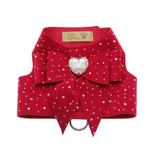 Luxury Dog Harness Red Heart Swarovski® Crystal Ultrasuede®