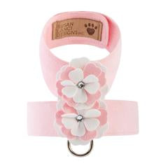 Luxury Dog Harness Pink White Flowers Swarovski® Crystals Ultrasuede®