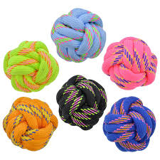 Dog Ball Toy Rope Knot Black, Blue, Lavender, Yellow, Orange Medium/Large 3.5