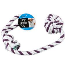 Dog Toy Rope and Knotted Ball Purple White Medium