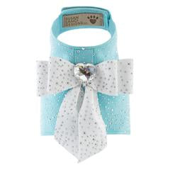 Luxury Dog Harness Blue Heart Swarovski Crystal® Ultrasuede®
