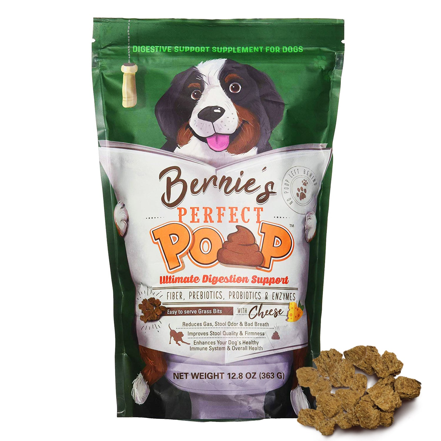 Bernie's Pefect Poop Dog Digestion Supplement: Fiber, Prebiotics, Probiotics & Enzymes Relieves Digestion, Optimizes Stool, Improves Health & Wellness