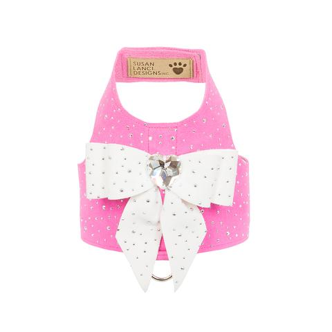 Luxury Dog Harness Pink White Heart Crystal